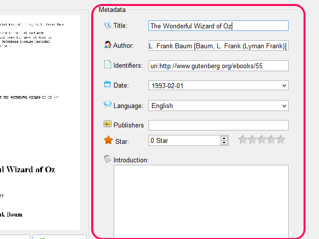 Adjust the metadata using the provided fields.