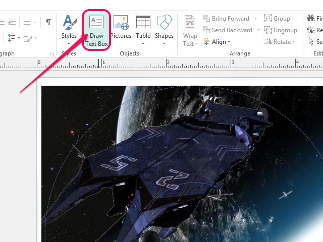 Click Draw Text Box.
