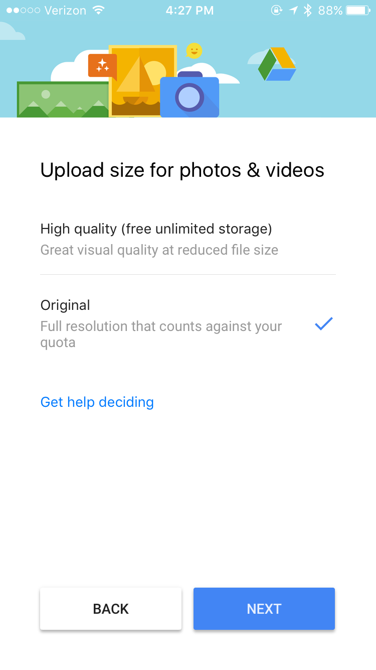 Upload size for photos & videos