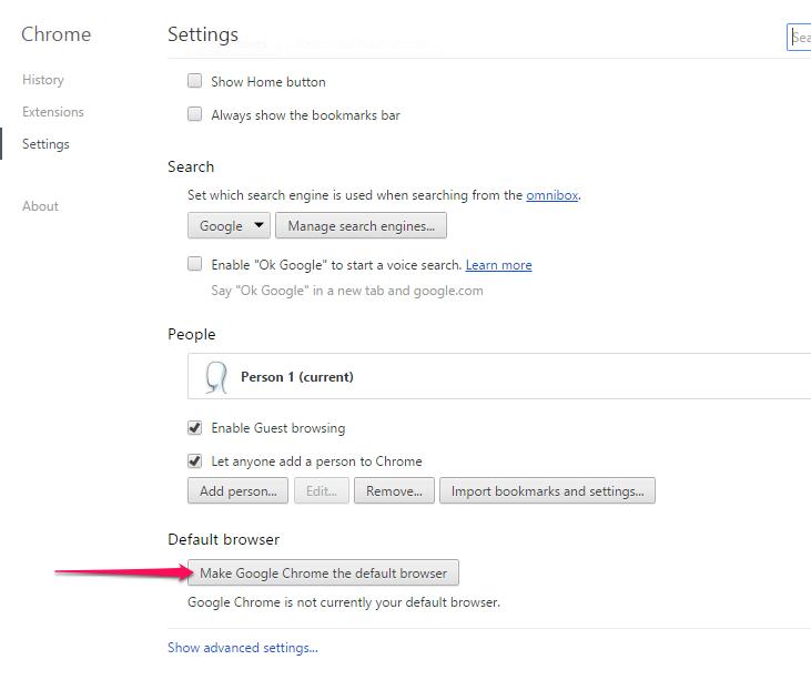 Choosing Chrome as Default