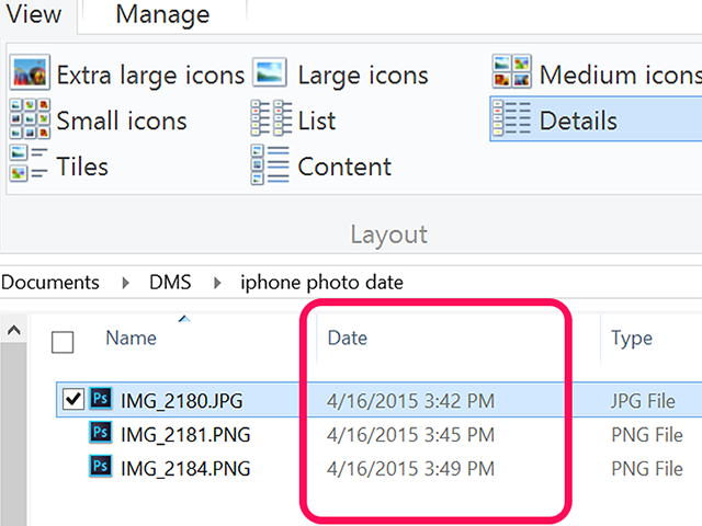 The dates are displayed beside the image names.