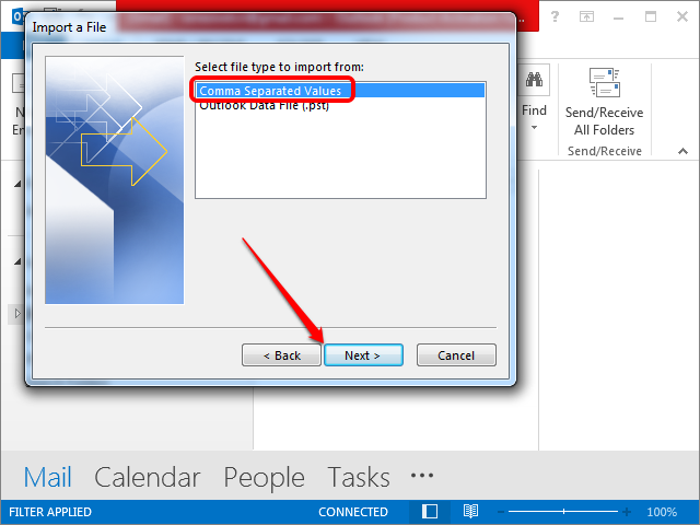 Selecting to import a CSV file.