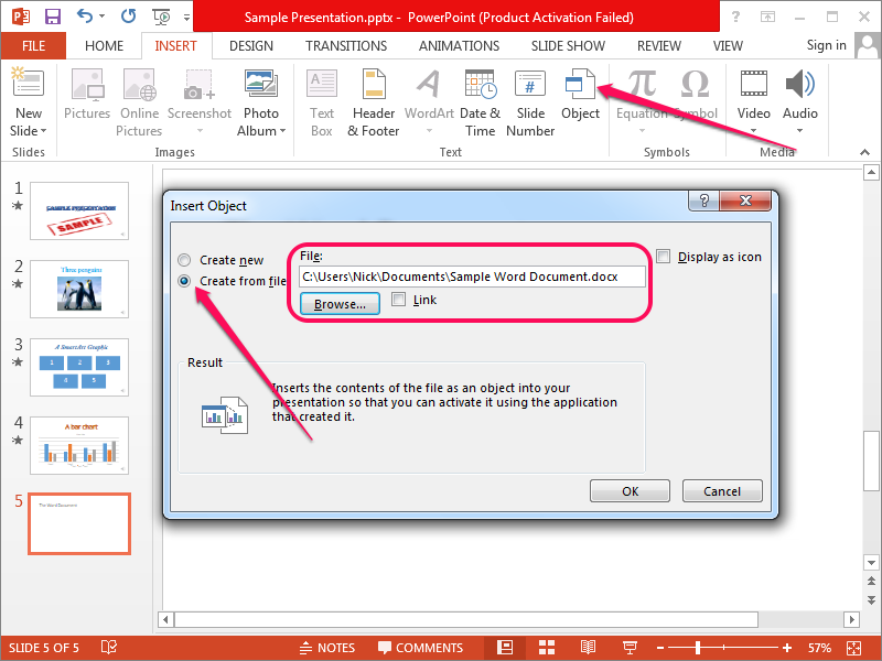 Open the Insert Object dialog and select the Word document.