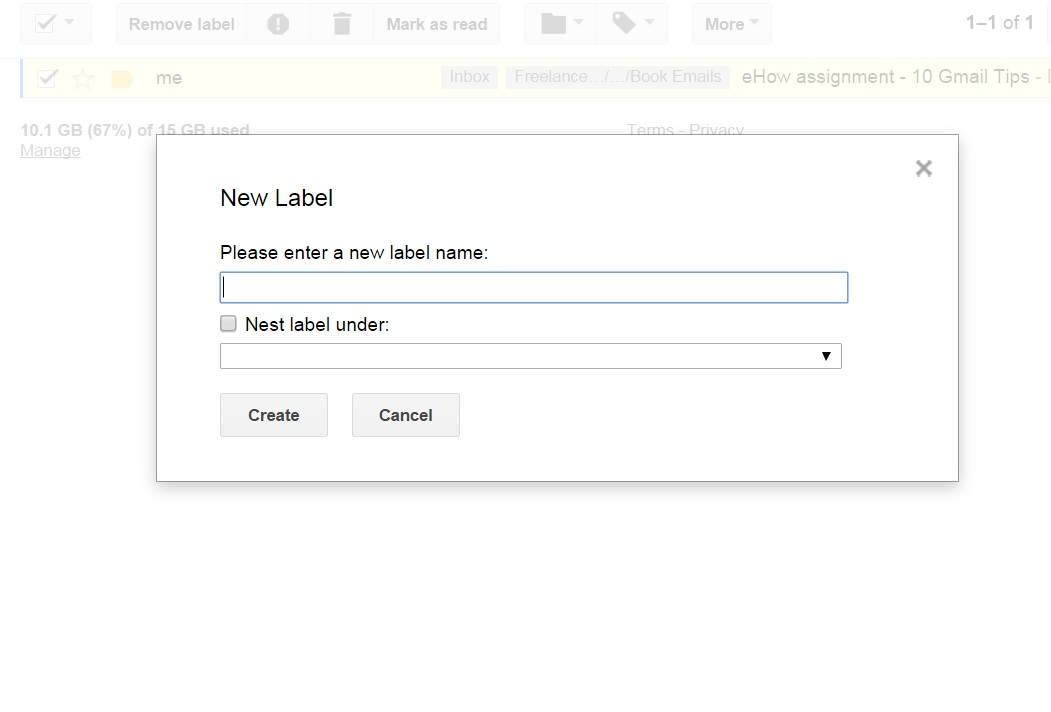 After selecting the label icon, select 'Create new' in the drop-down menu.