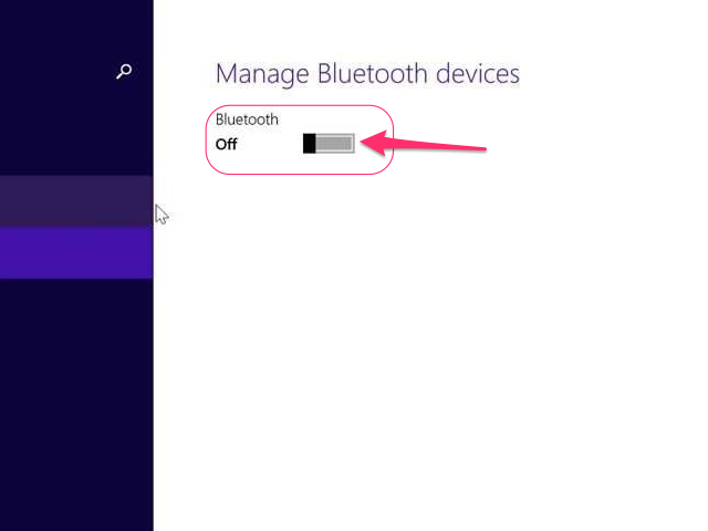Toggle the Bluetooth switch on.