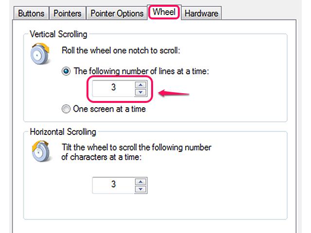 Wheel scroll speed settings
