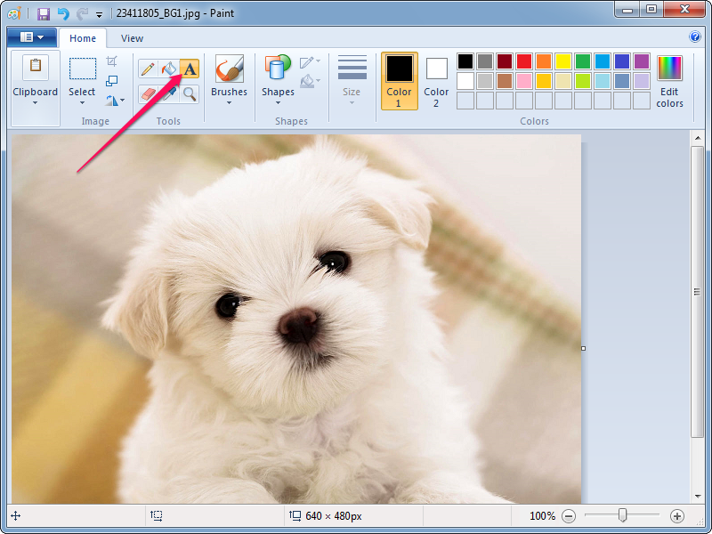 Selecting the Text tool in Paint.