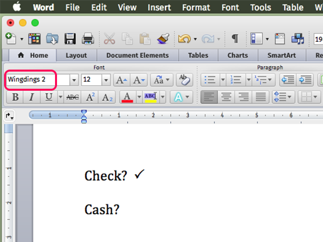 Adjust the check mark size as you would any letter in any font.