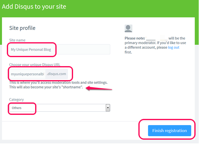 Accept or create a Disqus shortname.