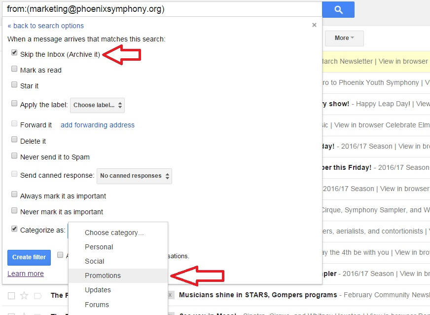 In this instance, we skip the inbox and categorize these emails as promotions.