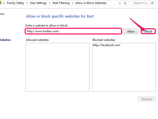 Type the website URL and click Block.