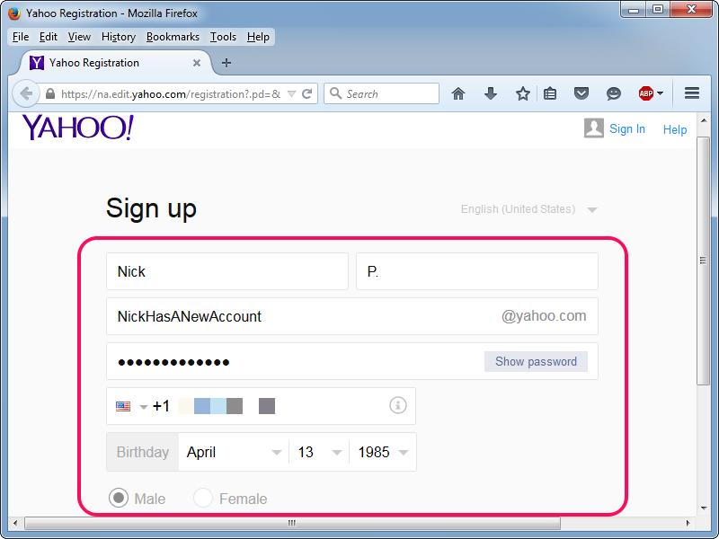 Messenger account new yahoo sign up create Create an