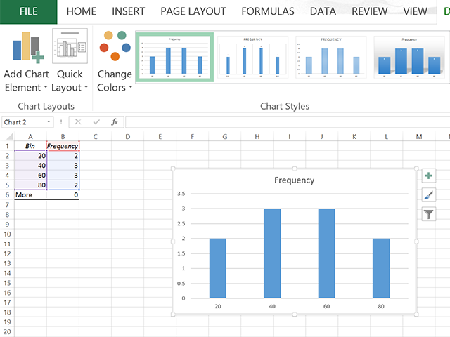 Copy a histogram in Excel.