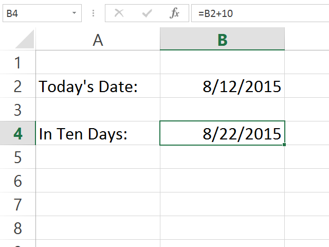 Excel calculates the future date.