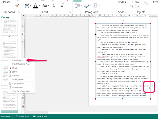 Use the Overflow Indicator to add additional pages and text boxes.