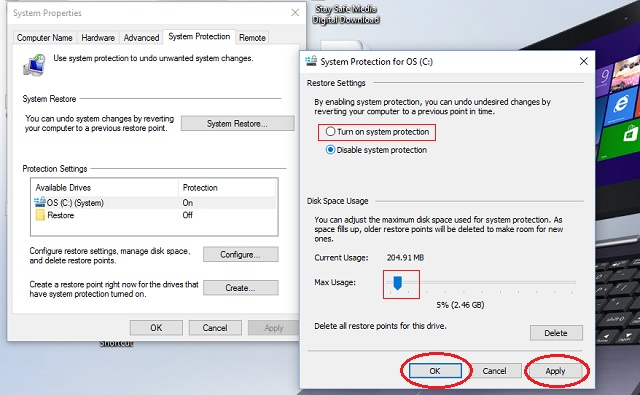 After you turn on system protection and select the disk space usage, click 'Apply' and 'OK.'