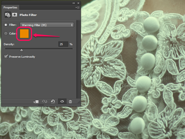 The Properties panel for a Photo Filter layer in Photoshop.