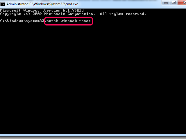 Command Prompt window with Netsh Winsock Reset command highlighted.