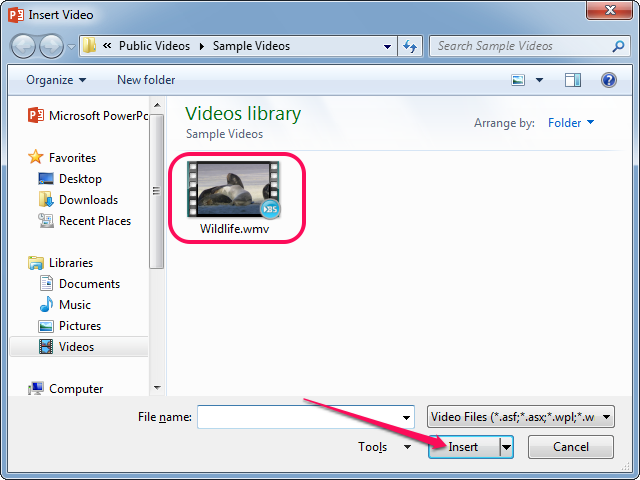 Inserting a video from your computer.