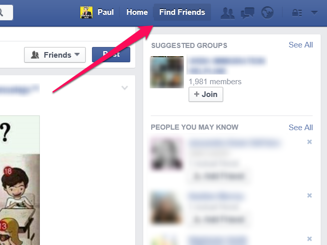 Facebook home page, with Find Friends link highlighted.