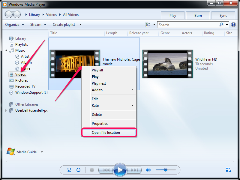 Selecting the Open File Location option in Windows Media Player.