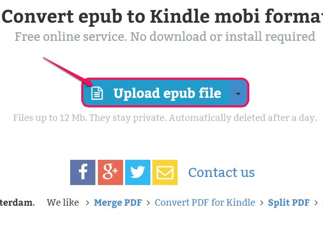 Click Upload epub file.