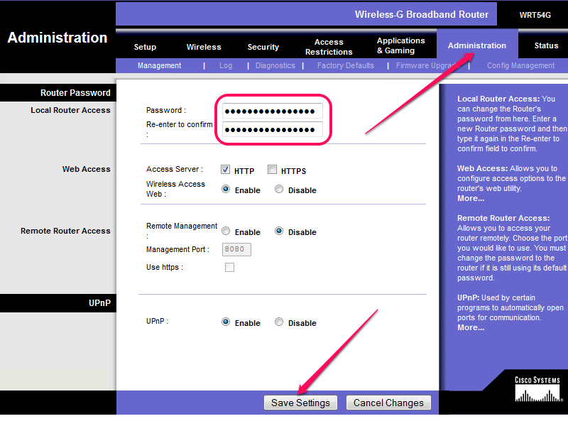 The password fields are on the Management sub-tab.
