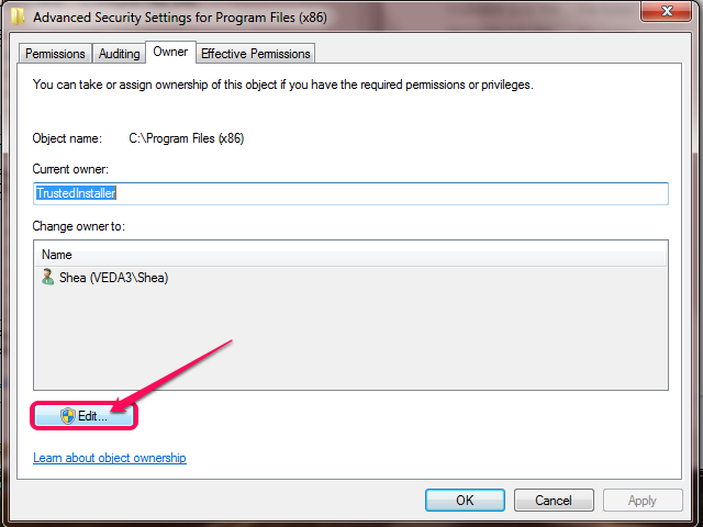 The Advanced Security Settings dialog (Windows 7).