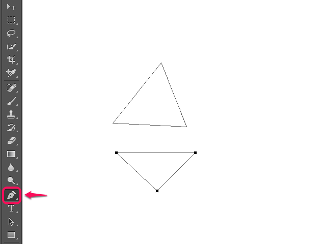 Pen Tool drawing triangles