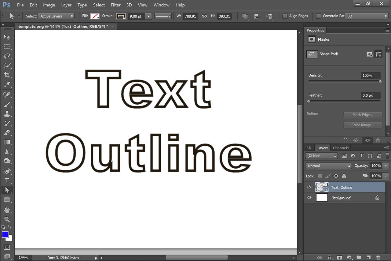 Photoshop how outline to text in