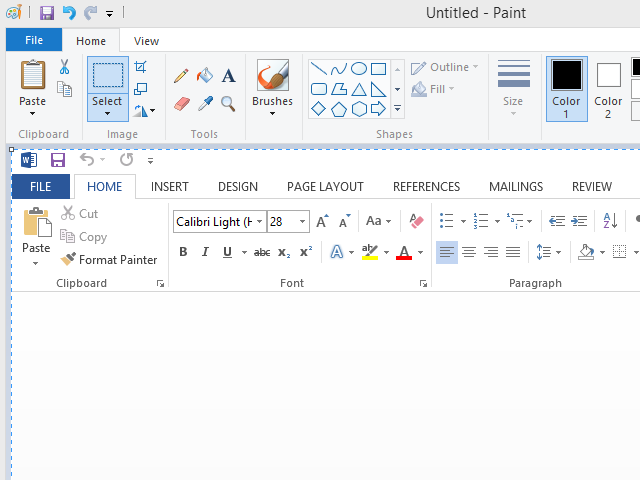 Screenshot of Microsoft Word pasted into Paint.