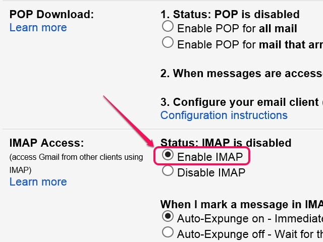 The Email Forwarding settings are also located in this section of the Settings page.