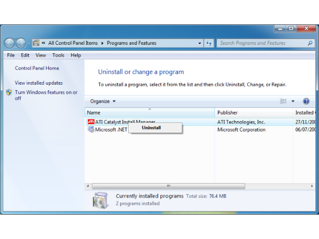 The Uninstall option will display on top of the ATI Catalyst Install Manager when you right-click it