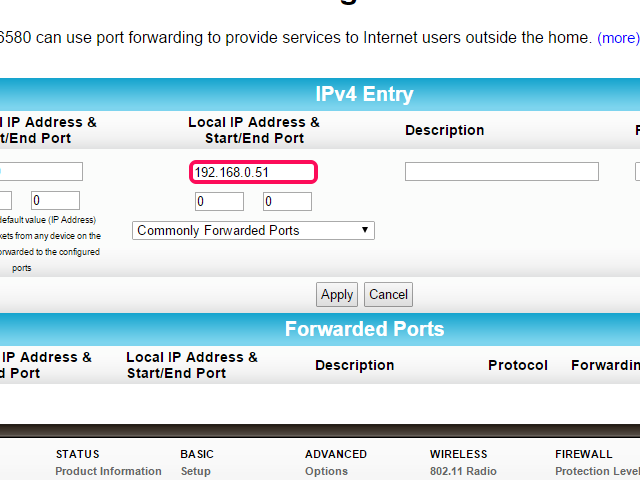 Enter the static IP in the Local IP Address field.