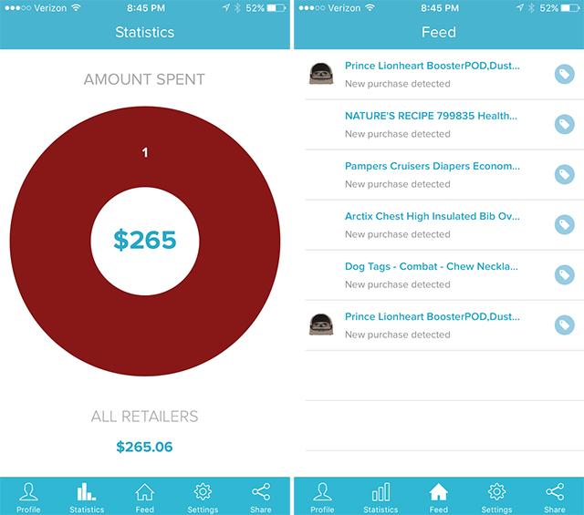 Screenshot of Paribus app.