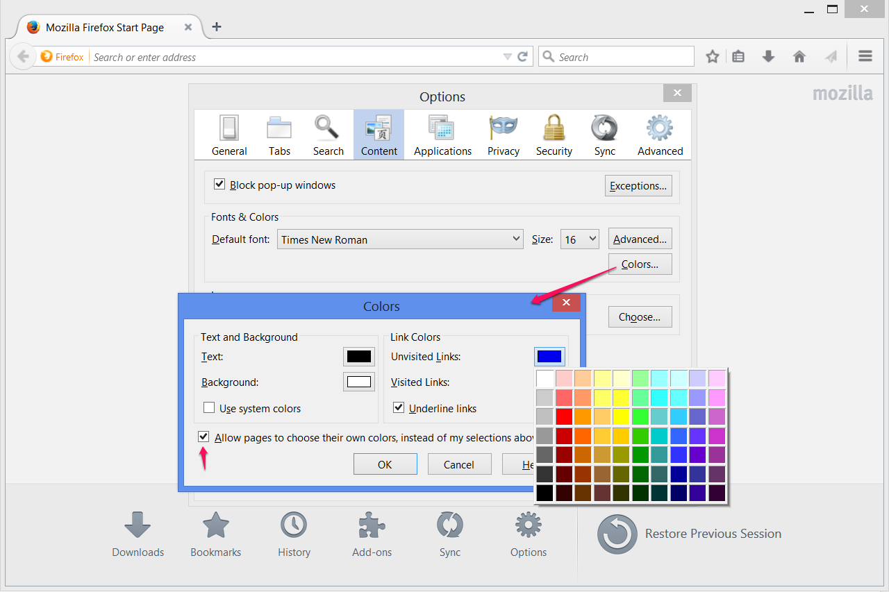 firefox how to change font color