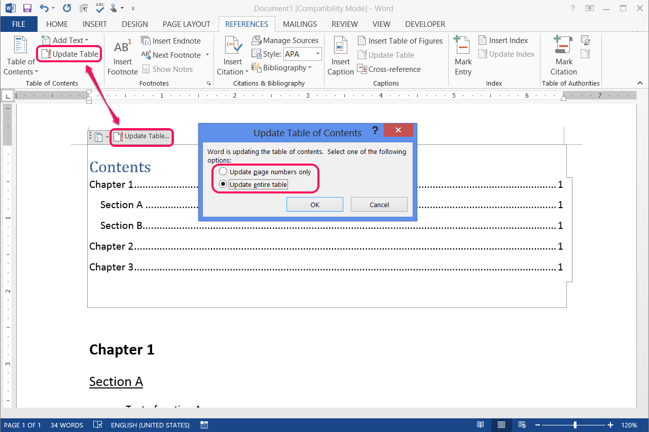 how to put in table of contents in word