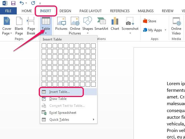 Open the Insert Table dialog window.