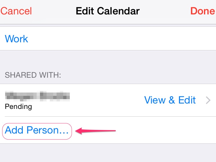Tap Add Person to share your calendar with more people.