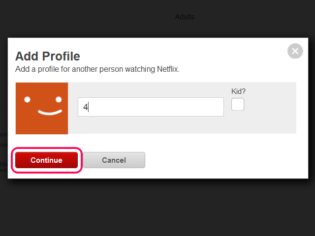 Add profile screen