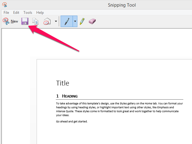 Snipping Tool screenshot window with Save icon highlighted.