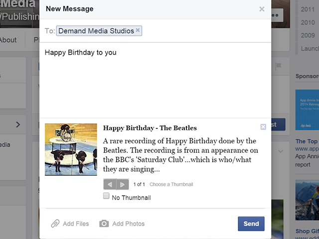 Send a Facebook message to keep your greeting private.