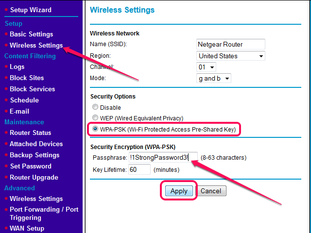 The Wireless Settings page in the Netgear Web interface.