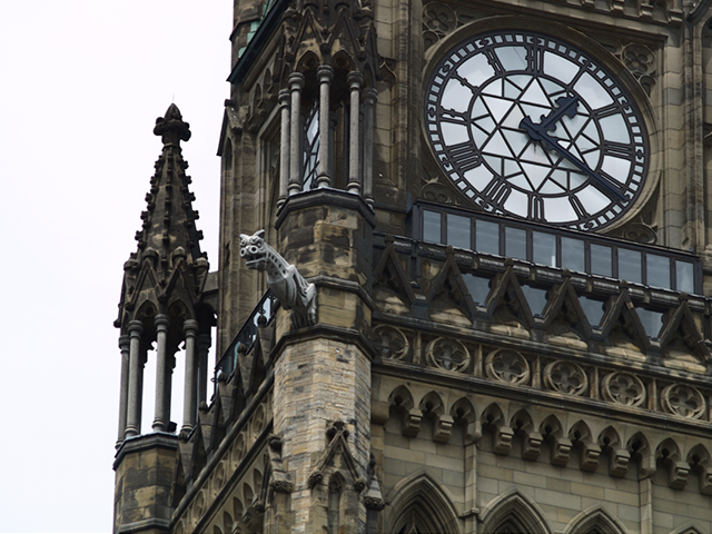 A darker photo of Ottawa's Peace Tower.