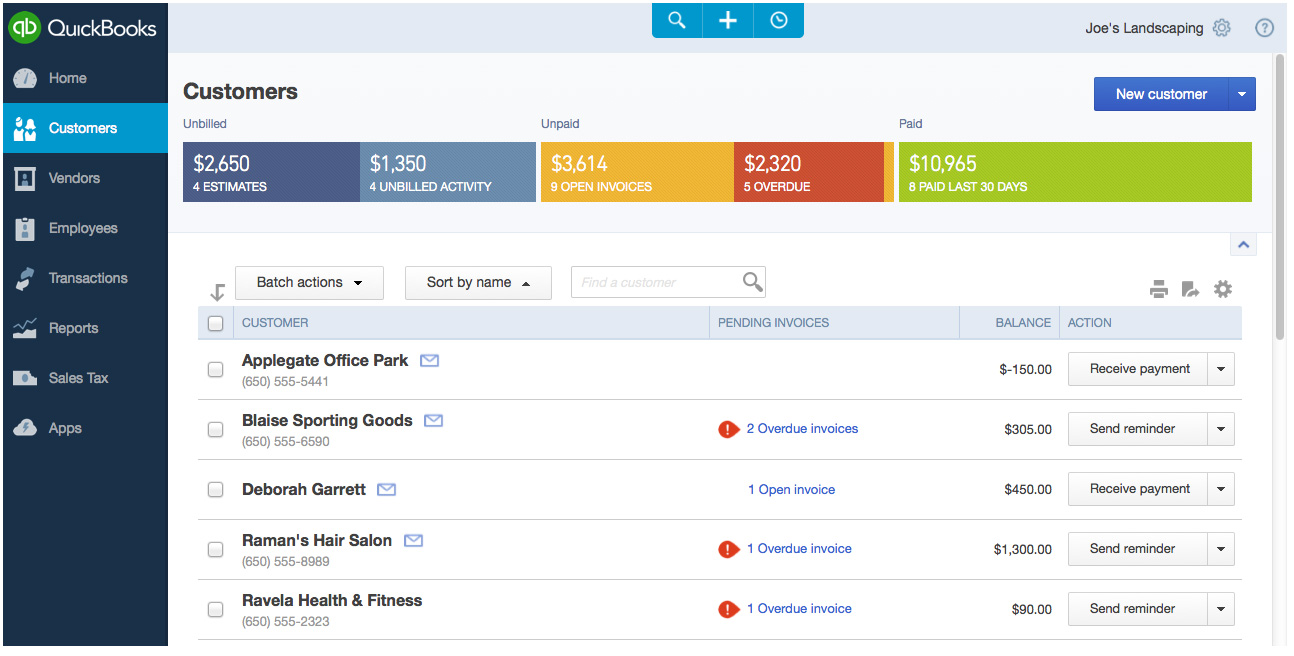 QuickBooks Online screenshot.