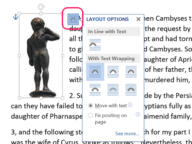 Layout options specify how images  are displayed near text.