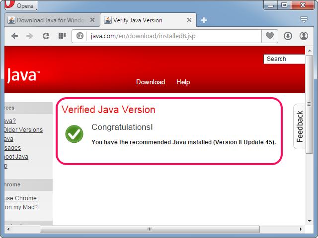 Java working in Opera.