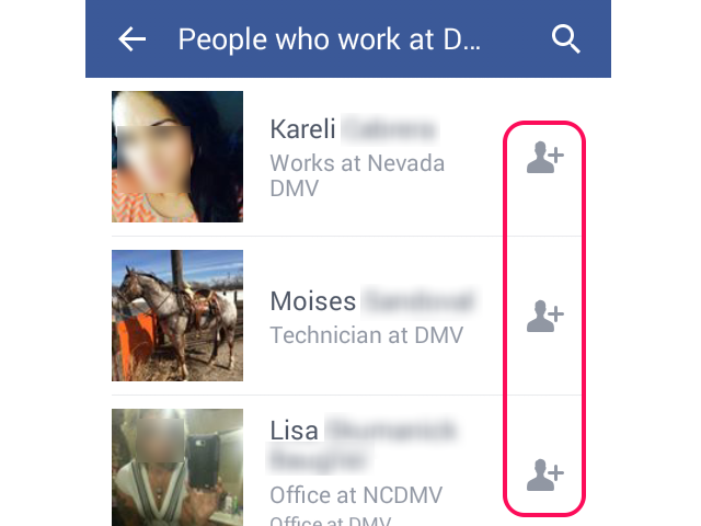 Facebook search results with Add Friend icon highlighted.