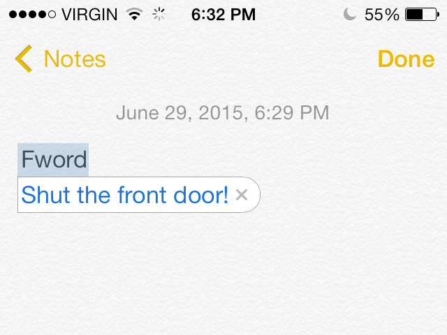 Type the shortcut and press Space.