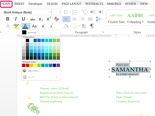 The Home Ribbon's Font Color options.